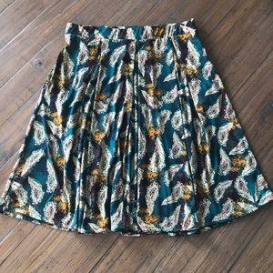 LuLaRoe size L green feather print Madison skirt